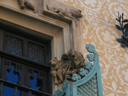 The owner of the house, Chocolatier Antoni Amatller, was also a photographer. Hence this original detail on the facade.