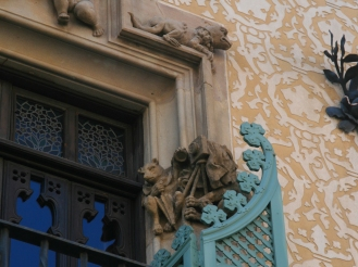 The owner of the house, Chocolatier Antoni Amatller, was also a photographer. Hence this detail on the facade.