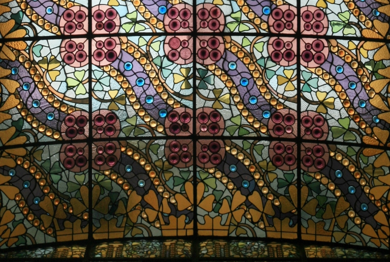 The Stained Glass Ceiling Above the Main Staircase