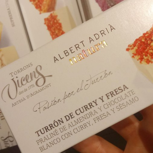 "Torrons Vicens, one of the oldest Catalan brand of torrons, and its pastry chef and Nougat Master Angel Velasco, worked with one of the most acclaimed Chefs of the world, to create a special collection. Inspired by different deserts that Albert Adria made for ""El Bulli"", these varieties surprise the palate and place the turróns in the highest gastronomy."