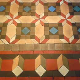 The floor designs are very geometric.