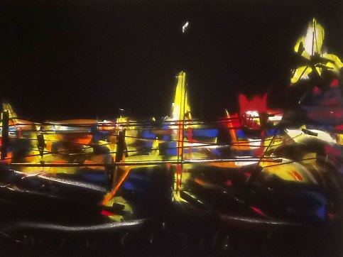 The series of paintings focus upon the energy of the city, translated into vibrant colors and sharp contrast with the black background.