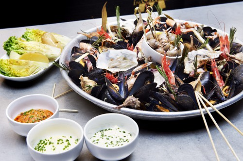 Seafood Festival or la gran mariscada, on the brewery bar menu: http://moritz.com/en/section/brewery-bar