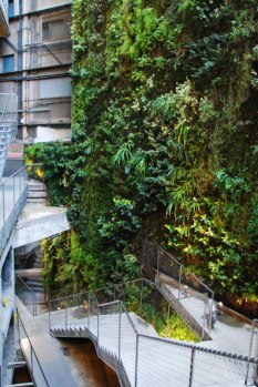 The green wall is the work of Patrick Blanc, a botanist and the inventor of the Vertical Garden.