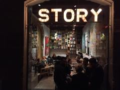 Story bar with the artwork of the Catman displayed on the walls