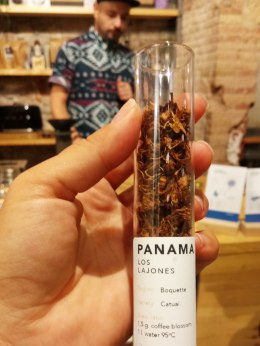 This one of the most rare things one can see, at least in a big European city: dried flowers of coffee. They are used for infusion and this brand, Los Lajones is owned by Award-Winning Producer Graciano Cruz, located on the eastern slopes of Volcan Baru, Panama.