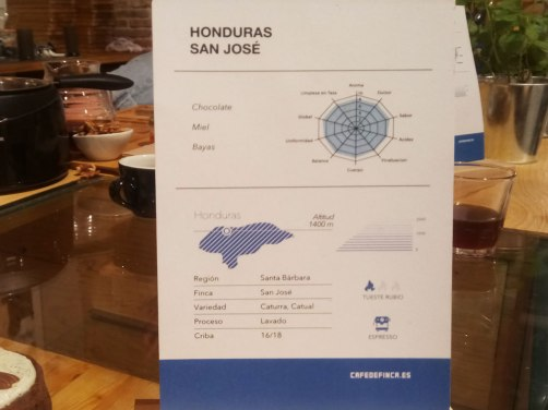 The coffee they worked with, for the training, is from the farm San José in Honduras. The card displays the essential information about the coffee: the variety, the origin, the main notes, and this information is also put on the coffee bags that can be purchased from the cafe. This is one of the favorite cafes of Café de Finca, a variety of Caturra and Catuai, cultivated at 1400 - 1600 meters above sea level. This origin has a low acidity, notes of chocolate and a very comforting honey sweetness in the mouth.