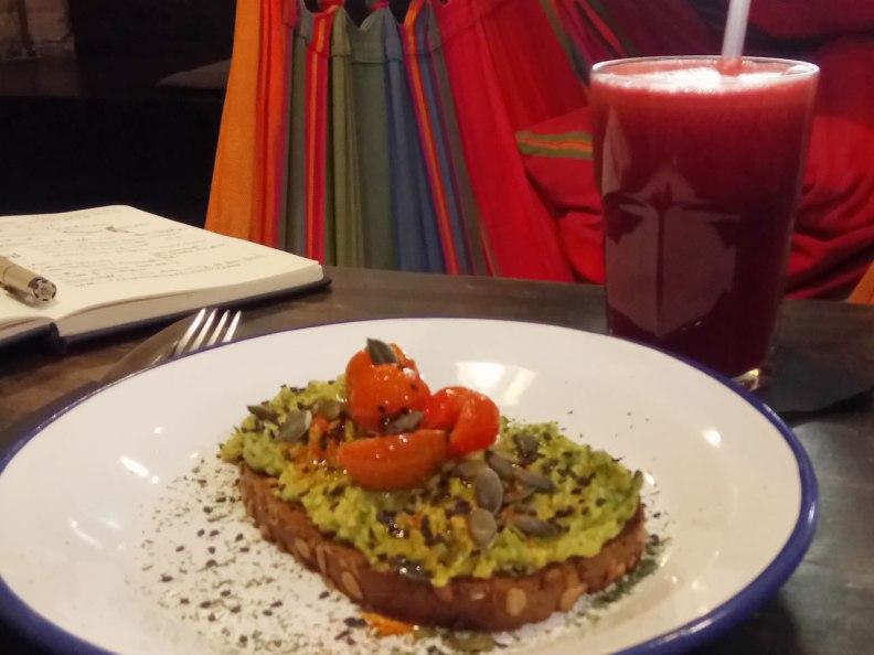 Hammocks avocado toast and Barcelona Addicted cold pressed juice