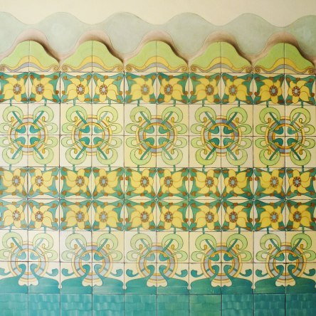 Casa Francesc Cama Art Nouveau tiles green and yellow floral design