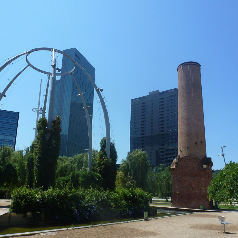 Jean Nouvel Parc del Poblenou vegetation and old factory chimney