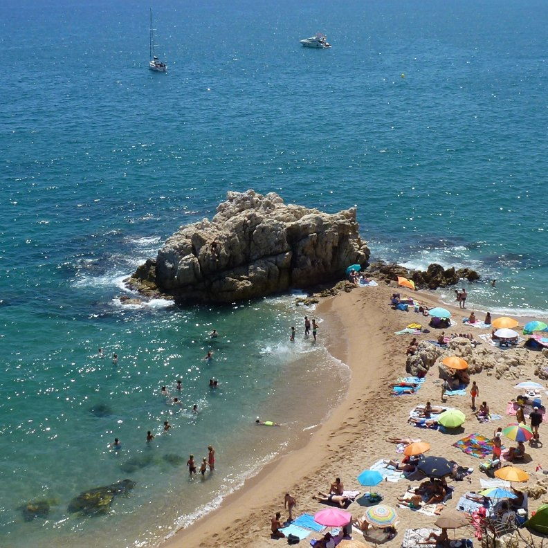 Sant Pol de Mar Rocagrossa beach the rock