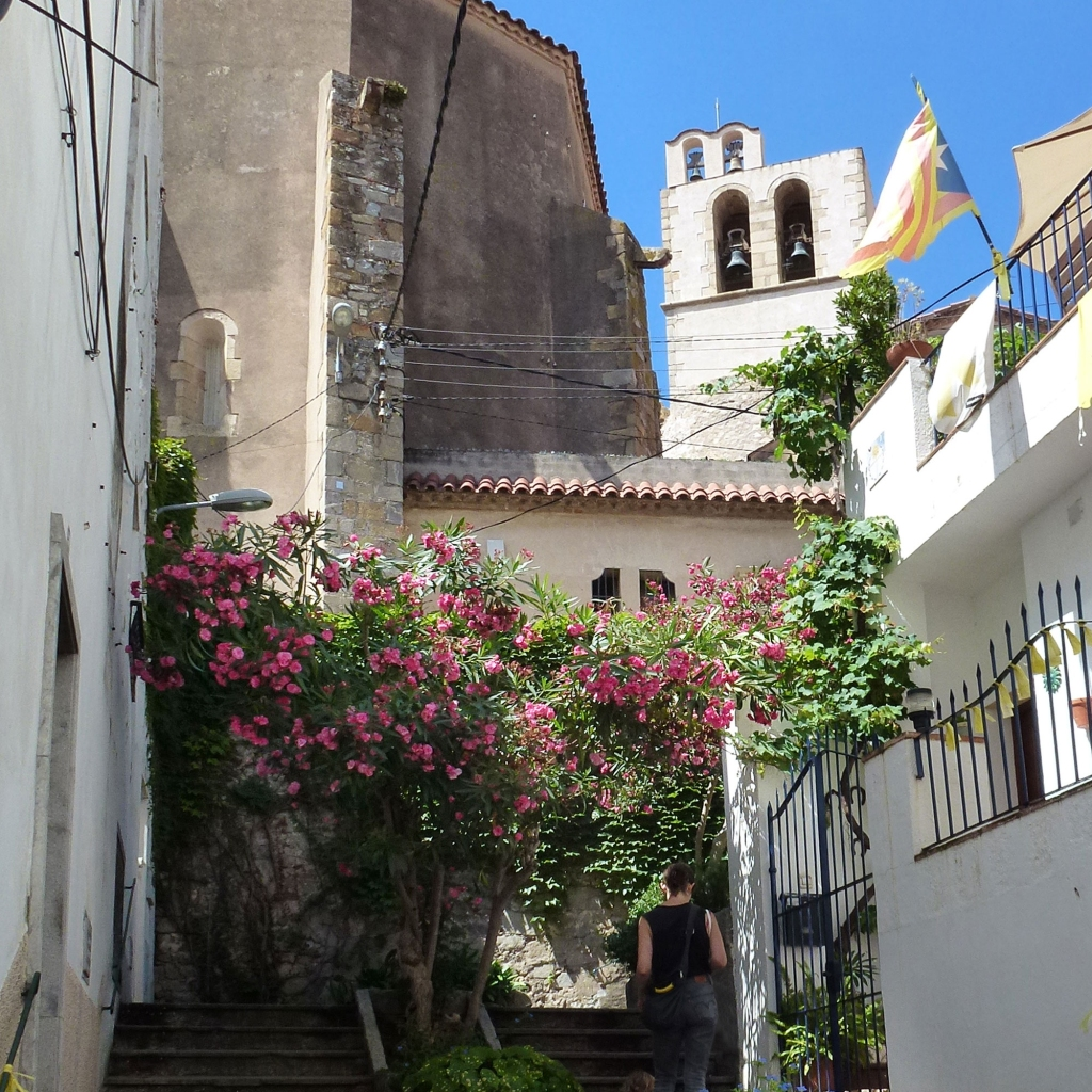 Sant Pol de Mar street with oleander